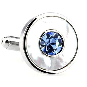 NEW Blue Crystal & Mother of Pearl Cufflinks